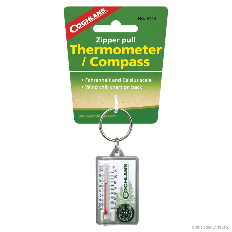 Zipper Pull Thermometer with Compass